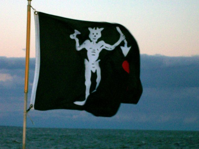 It's not the flag that moves.... it's the demon on the flag that moves...